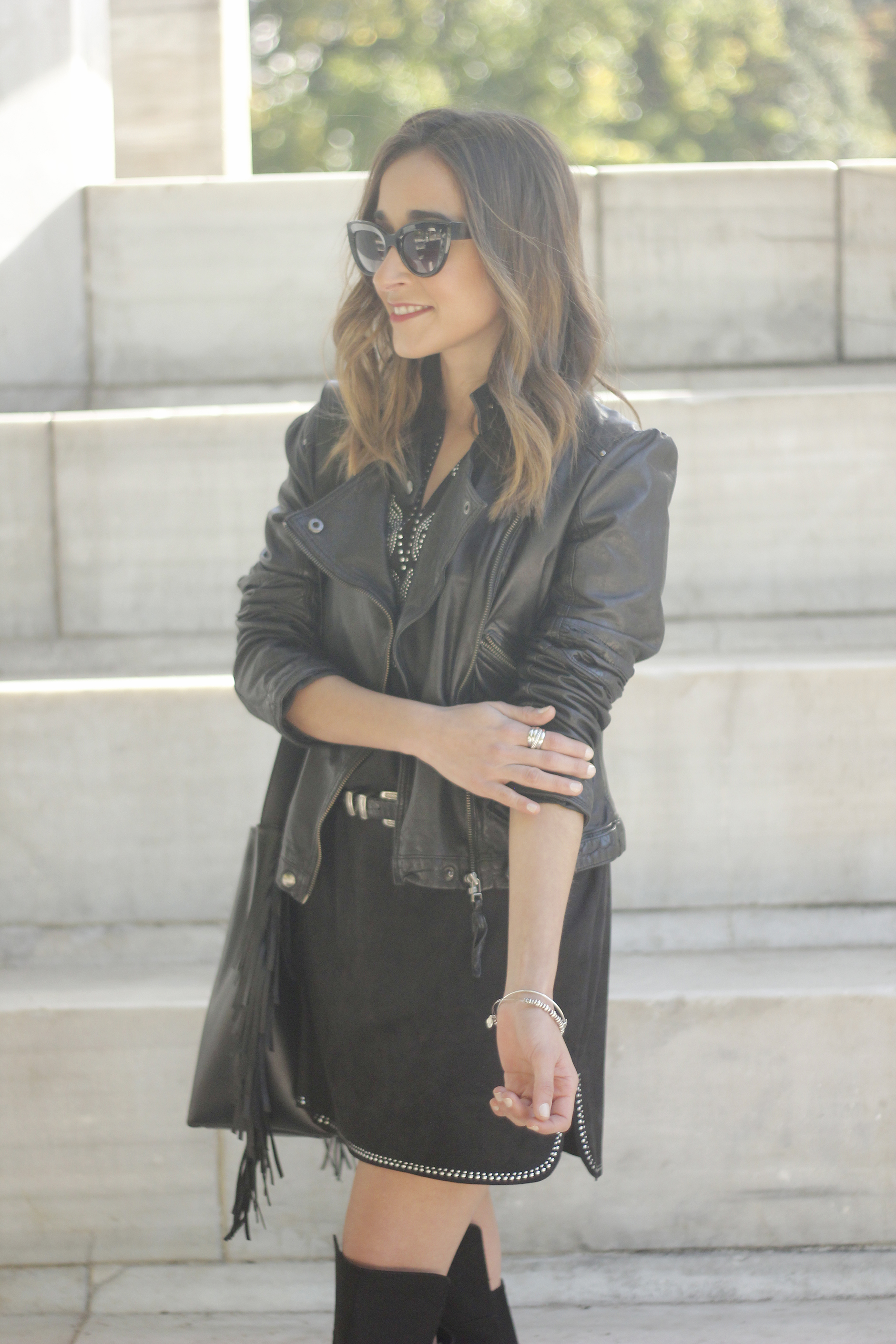 Black Leather jacket With Suede Black Dress Over the knee boots08