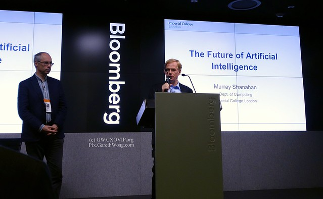 David Wood, Chair London Futures, introducing Murray Shanahan Imperial College, at London Futures at Bloomberg HQ _DSC6518