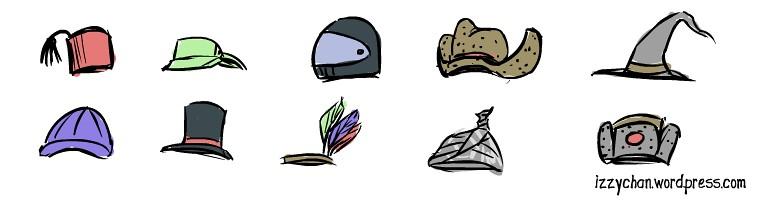 fez, motorcycle helmet, top hat, ball cap, tin foil, russian hat, mage hat, cowboy, indian, tennis