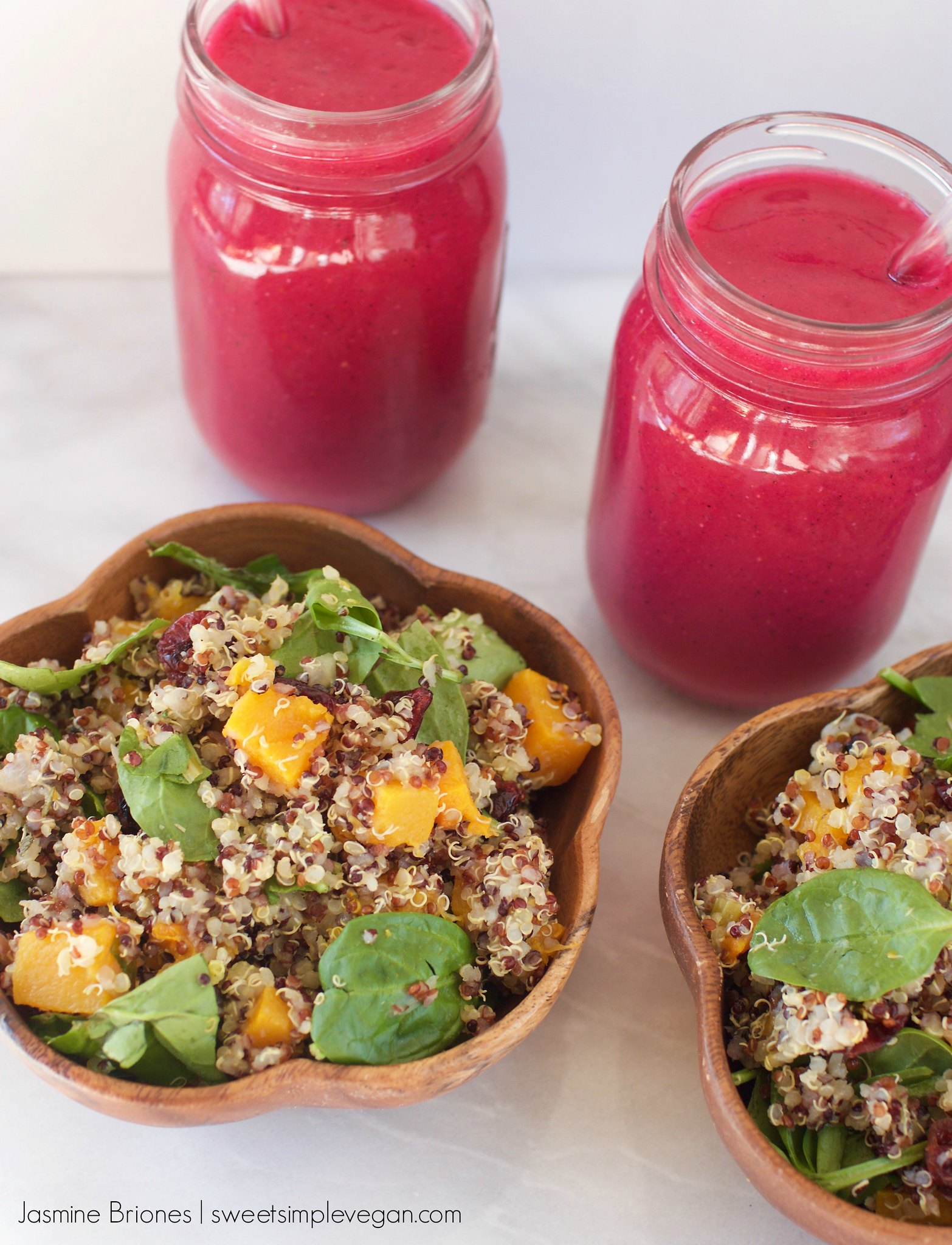 Butternut Squash Quinoa Salad With Lemon & Fresh Herbs + Pitaya Smoothies!