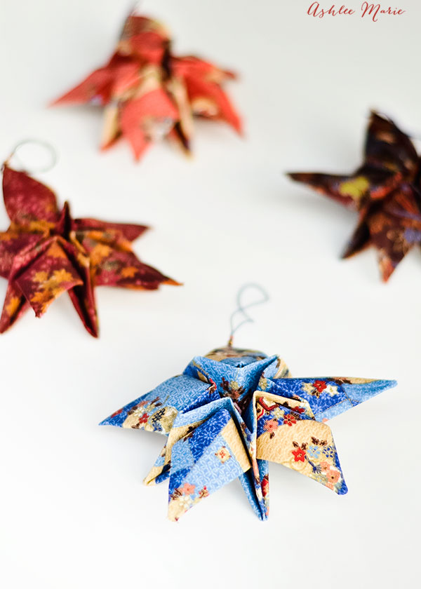 we made these fabric origami stars for our christmas tree when we were living in japan, they are still a favorite!