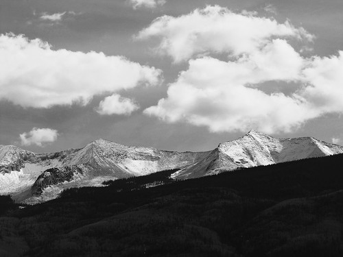 sky blackandwhite mountains clouds rural colorado westelkmountains