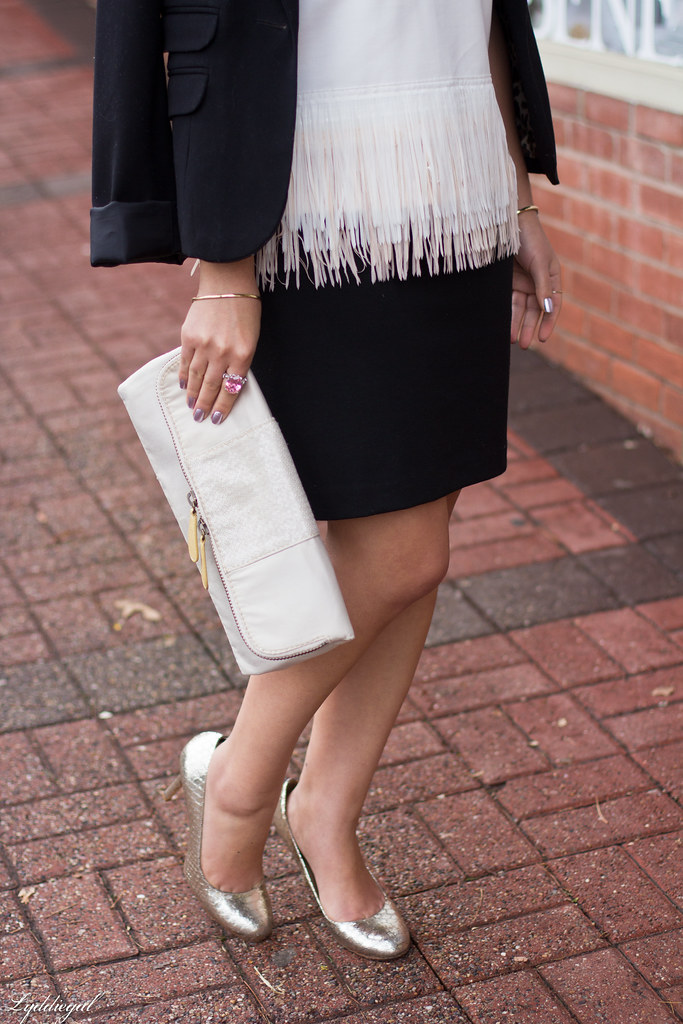 white fringe hem top, black skirt, silver pumps-3.jpg
