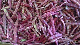 Purple beans at Tirso de Molina market