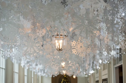 White House Christmas Decor 2015 - Cut Paper Snowflakes