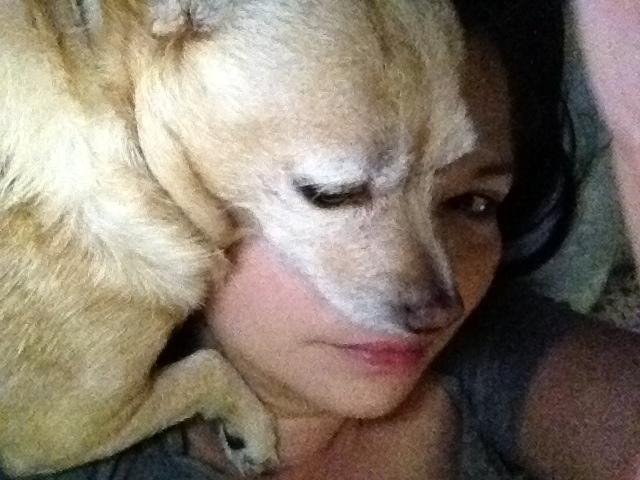 We share a pillow.