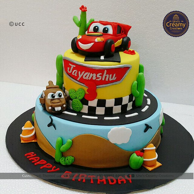 Mcqueen Cars Themed Cake by Urvi Zaveri of Urvi's Creamy Creations