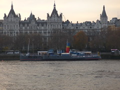 River Thames from the South Bank in London - The Royal Horseguards Hotel - boat - Tattershall Castle