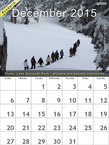 December 2015 National Parks Calendar: Crater Lake National Park, Oregon @CraterLakeNPS @NatlParkService #FindYourPark #FYPyes