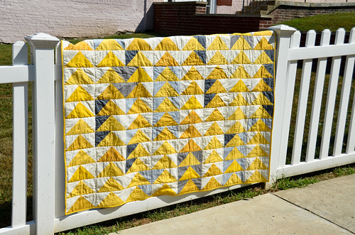 Yellow and Grey Flying Geese Quilt Done!