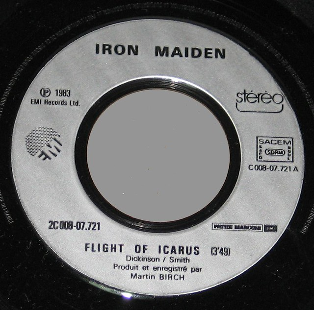 "IRON MAIDEN FLIGHT OF THE ICARUS 7"" FRANCE"