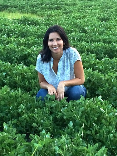 Industry representative Katie Swinson enjoying her time in a peanut field in Duplin County, N.C.