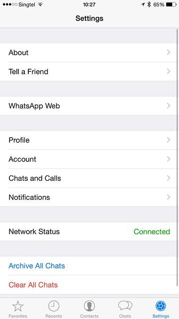 WhatsApp iOS - Settings