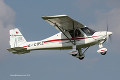 G-CIRZ - 2015 build Comco Ikarus C42 FB80, climbing on departure from Runway 14 at Barton