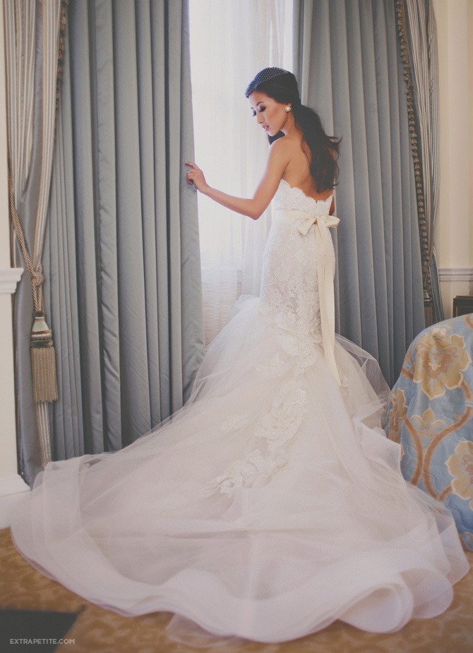 boston library wedding lazaro lace dress