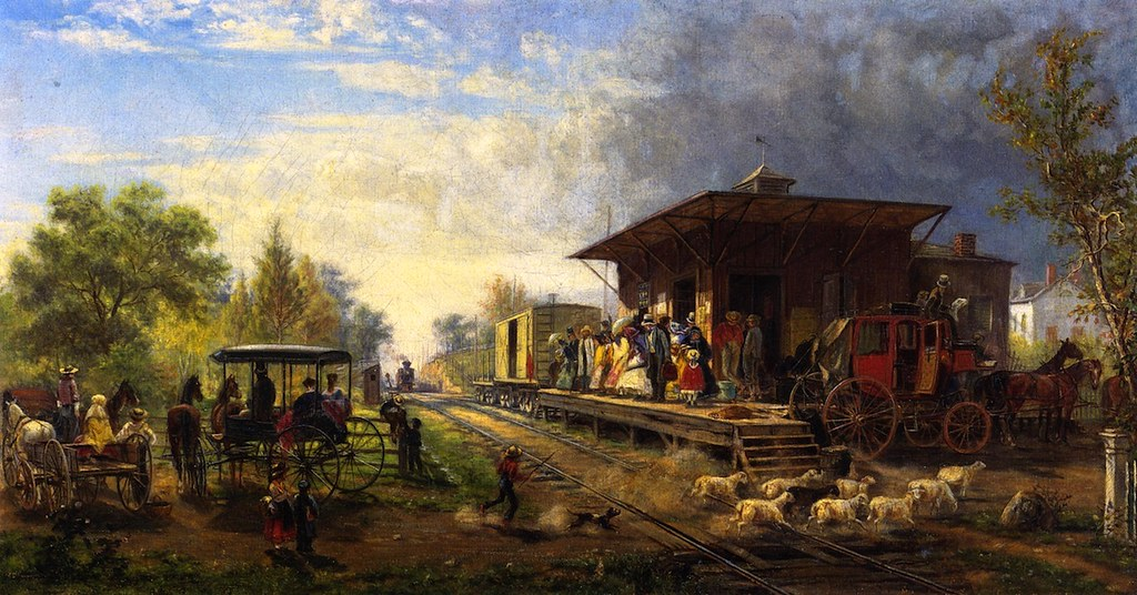 Station on the Morris and Essex Railroad by Edward Lamson Henry - 1864