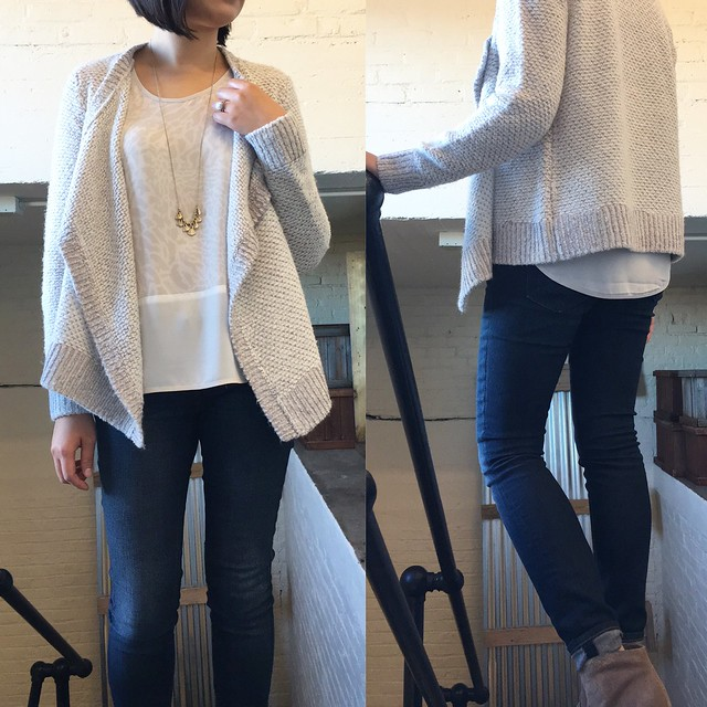 Lou & Grey Contrast Cardigan Outfit