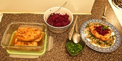 pork chops, beetroot, chives and plated meal