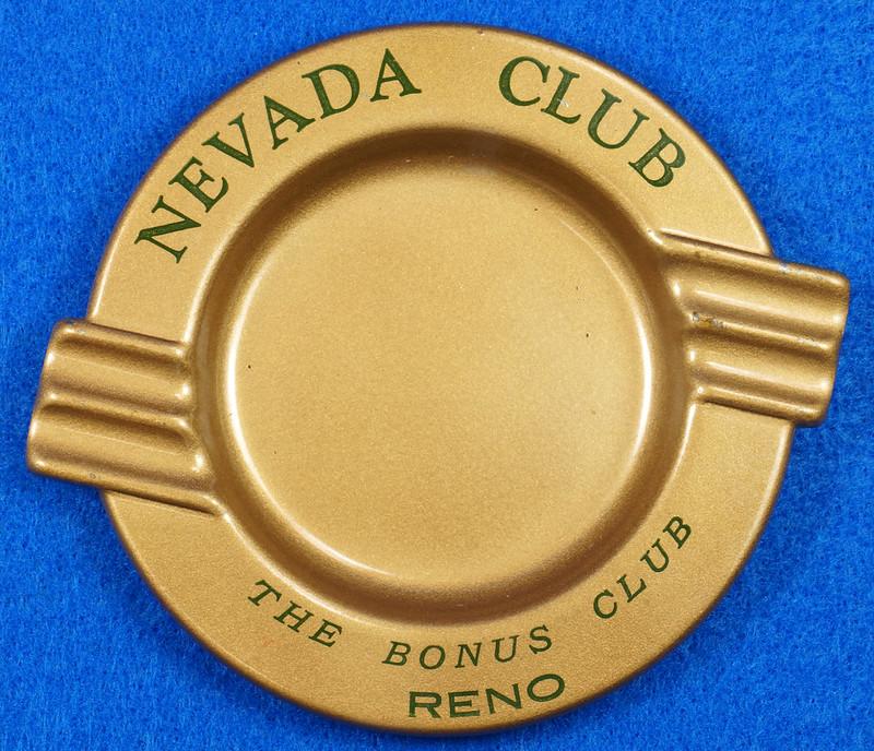 RD15055 Vintage Ashtray NEVADA CLUB - THE BONUS CLUB - RENO Copper Tone Metal Art Deco DSC06809