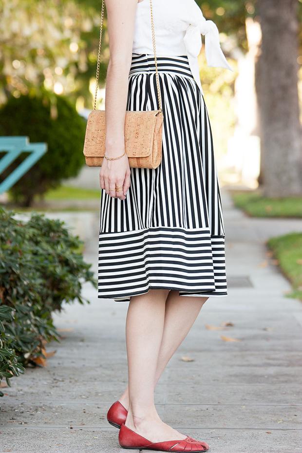 Lookbook Store, Striped Skirt, Midi Skirt, Red Flats, Cork Purse, Bow Crop Top