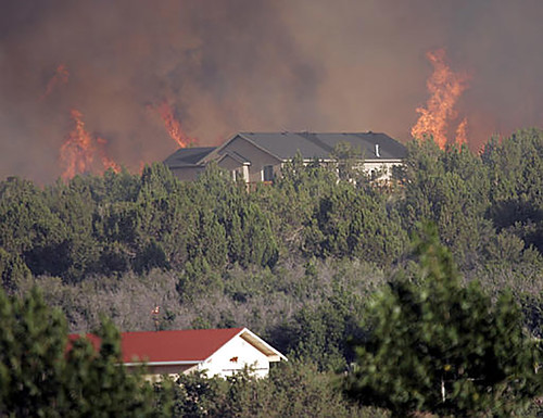 A wildland fire burning in front of houses and trees
