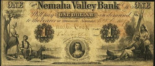 Brownville, NE - Nemaha Valley Bank $1