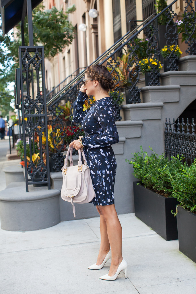 anthropologie sunglasses club monaco printed dress chloe marcie bag white heels dvf lipstick what to wear fashion blogger corporate catwalk