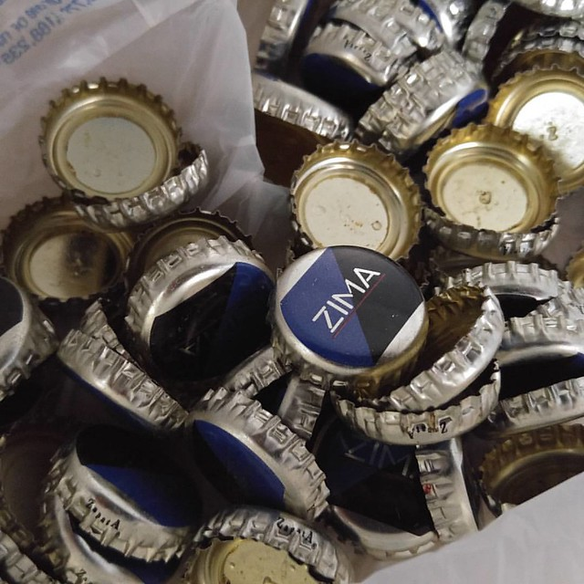 100 Zima bottle caps I got on eBay.