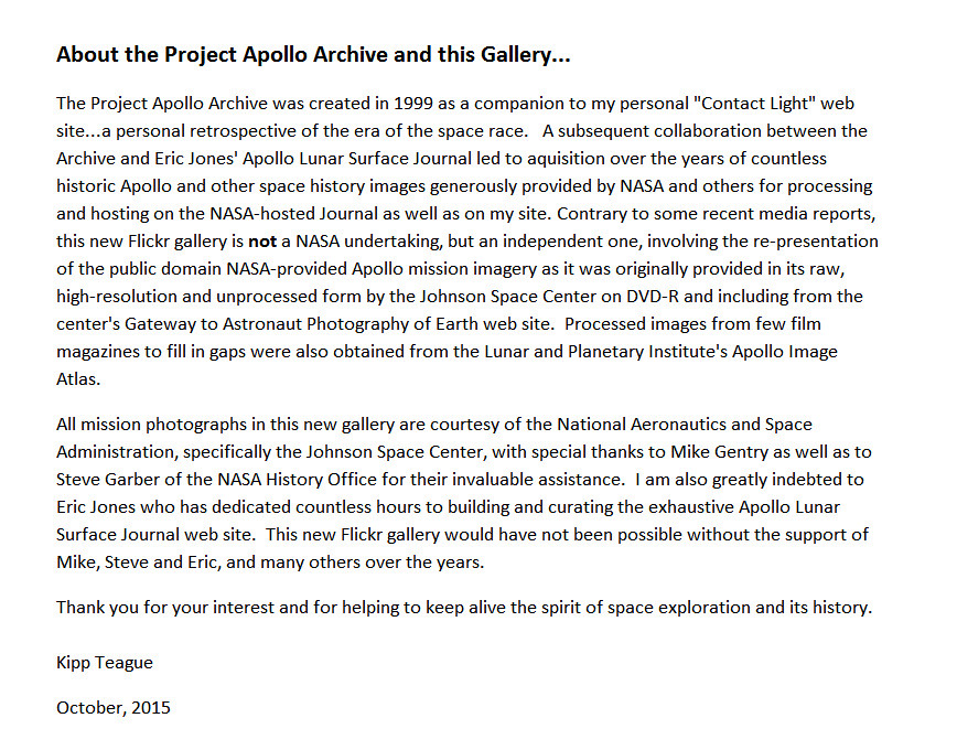 About the Project Apollo Archive Flickr Gallery