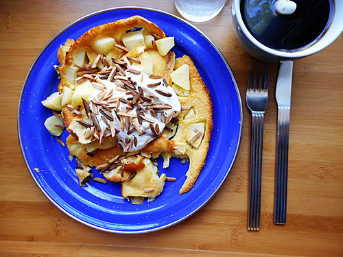 fresh apple clafouti with greek yogurt and toasted slivered almonds