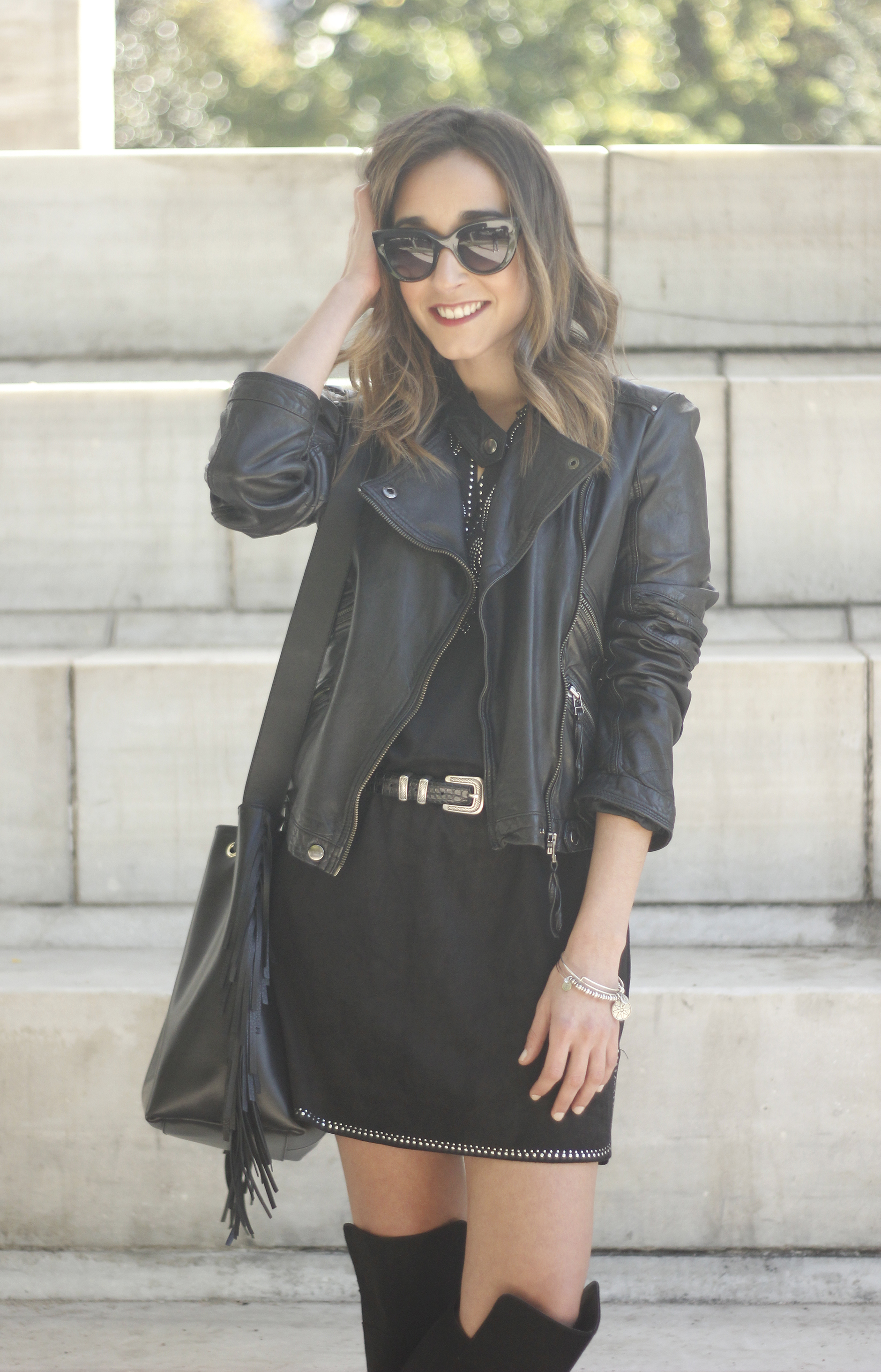 Black Leather jacket With Suede Black Dress Over the knee boots11