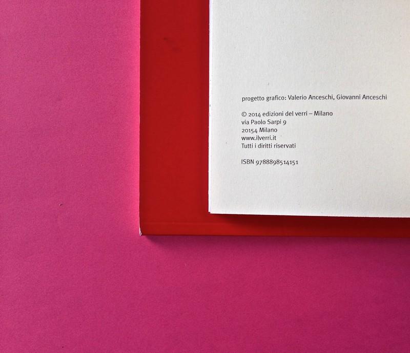 Edizioni del Verri / Collana rossa. Progetto grafico di Valerio Anceschi e Giovanni Anceschi. Colophon, a pag. 2 (part.), 1