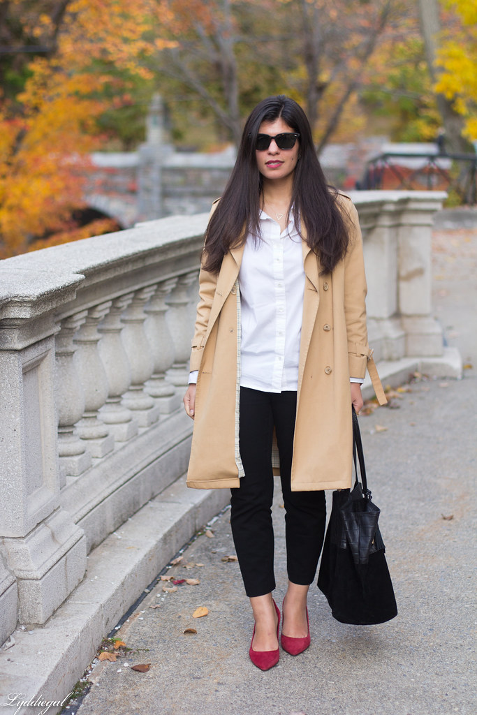 white shirt, black pants, trench, red pumps-10.jpg