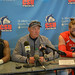 Bernard McDondle, Coach Wristen and Morgan Fox at the Post-Game Press Conference vs U-Indy