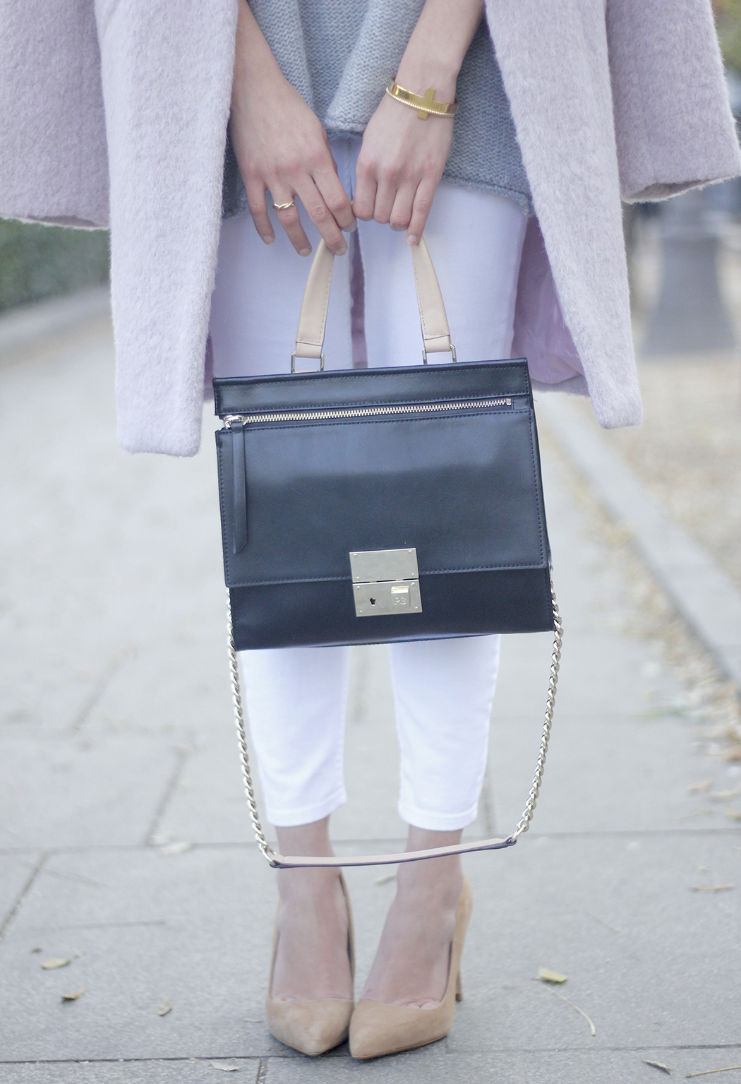 Tintoretto Pink Coat white jeans grey sweater outfit02