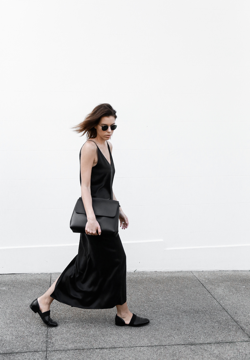slip dress, street style, silk, loafers, black, summer, modern legacy, fashion blogger