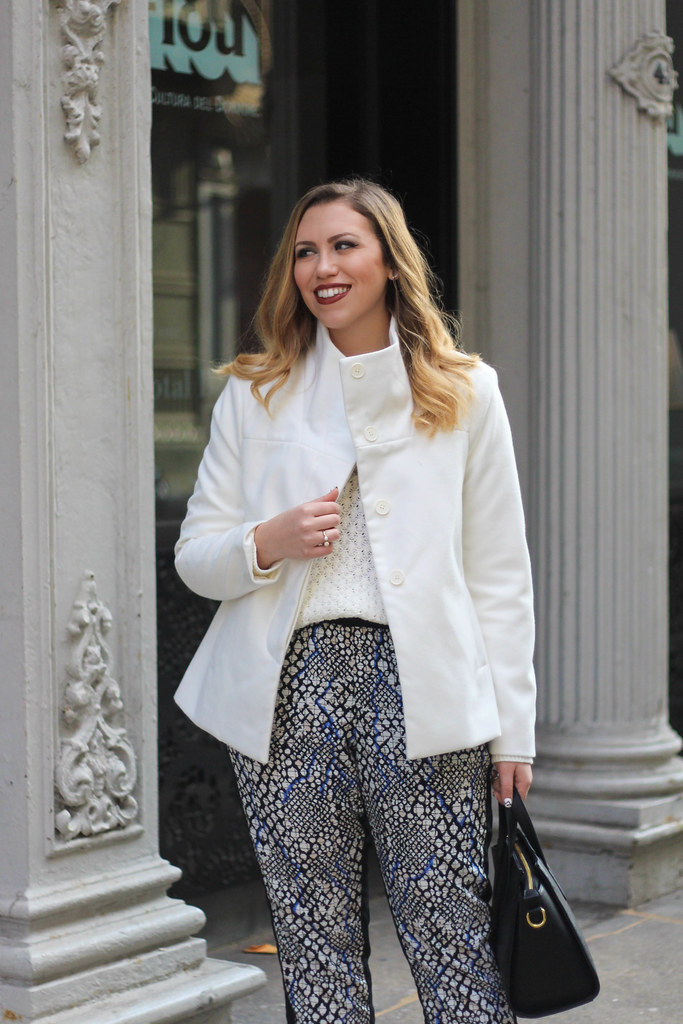 Old Navy Style   Printed Pants   White Chunky Knit Sweater   Funnel Neck Jacket