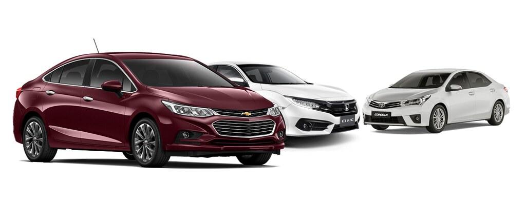 Chevrolet Cruze 2017 enfrenta Civic EXL e Corolla Altis: saiba qual é o melhor sedan médio