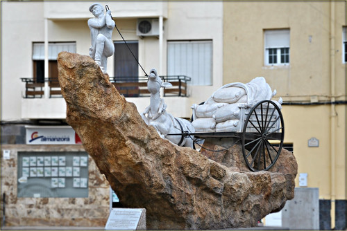 Donkey and cart statue Albox Spain