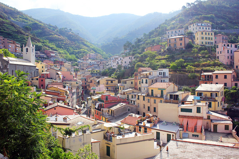 Cinque Terre Riomaggiore view of town from commune