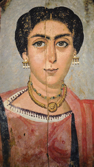 Mummy portrait depicting a woman with necklace and Medusa pendant and golden ear-pendants with pearls, 161 AD - 192 AD, Kunsthistorisches Museum Vienna, Austria