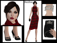 BlackRose Cowl Dress in Tartan Knit