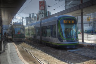 Tramcars at Hiroshima Station in morning on OCT 28, 2015 (2)