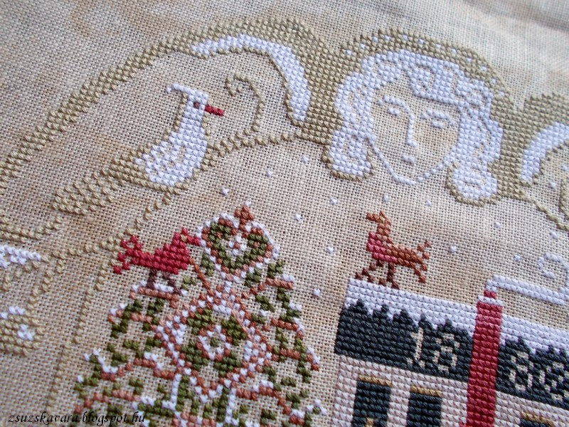 lone elm lane, snow angel, christmas, cross stitch (6)