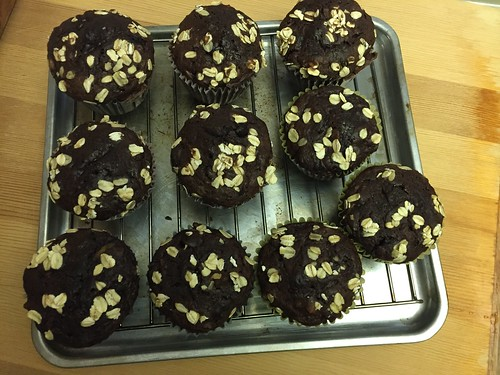 Walnut oat chocolate zucchini muffins