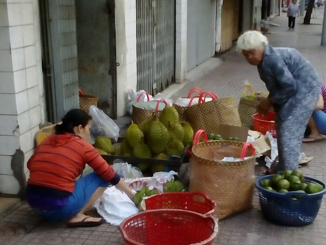 Durian seller in the off-season