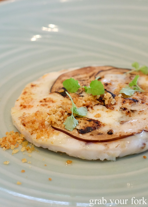 Spanner crab with guanciale, eggplant and smoked scamorza by Pilu at Freshwater, Sydney