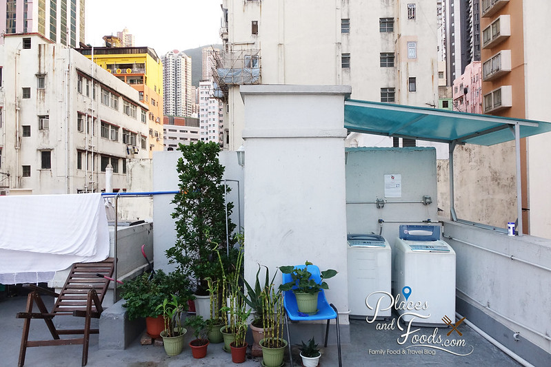 apple dorm sai wan rooftop with laundry