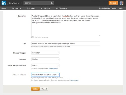 Choose a License (Slideshare Example) #CreativeCommons