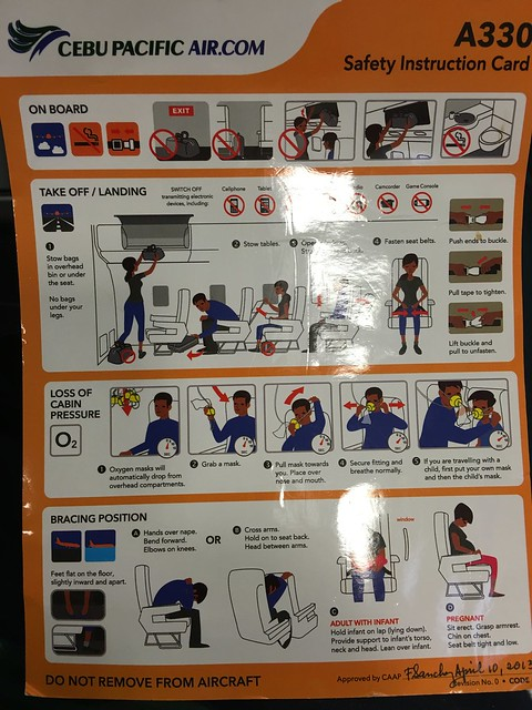 Cebu Pacific A330 Safety Instruction Card